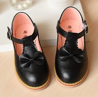2015 Spring New In Girls Children Princess flat shoes girls rivets single shoes kids leather shoes