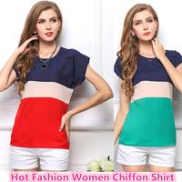 2015 Women T Shirt Chiffon Patchwork Style Casual Summer Women Clothes Plus Size Roupas Femininas Tropical Female Top Tee Shirt