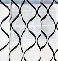 lines flock printing yarn window screening curtain curtain tulle sheer luxury  sheer curtain fabrics