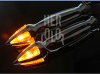 Universal Motorcycle 25mm Handle Bar with Turn Signal Indicators Light Amber LED
