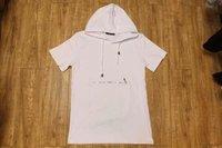 Men Short Sleeve Hoodie T-Shirt Front Fake Zipper hip hop streetwear Hooded T Shirt
