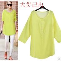 Women Loose Cotton Linen Shirt 3/4 Sleeve O neck Pullovers Blouse 2015 Summer European Style Shirt