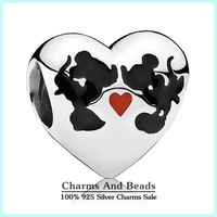 2015 New 925 Sterling Silver Mickey & Minnie Love Heart Charms With Red & Black Enamel Charms DIY Jewelry For Bracelets SH0560