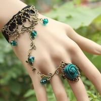 Retro flower vine Crystal temperament Mutu lace bracelet with ring jewelry wholesale Lolita MTB78