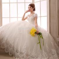 2015 spring double-shoulder V-neck plus size lace the Wedding Dresses 2185