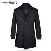 2014 winter male slim casual woolen outerwear medium-long trench woolen overcoat male
