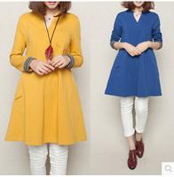 2015 Spring New Women Loose Dress A Shape Female Casual Wear  Korean Style Loose Vestido Plus Size Cotton Dress M-2XL