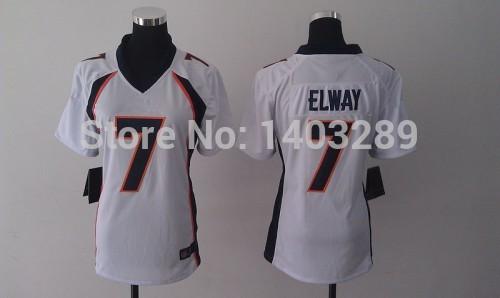 American football jersey Denver womens 7 John Elway Jersey womens stitched White custom free shipping(China (Mainland))