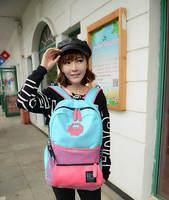 Large Capacity Travel Canvas Backpacks Double M Outdoor Sport Shoulder Bag Women's Hit-color School Bags Feminina Mochilas 757e