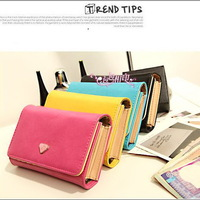 2015 New Style  Leather Cute Multifunction Storage bag Women  Wallets short style Fashion Sport Purses Credit Card Holder Clutch