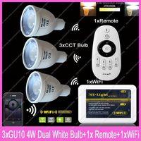 3x GU10 Mi.Light 4W Color Temperature Adjustable Dual White CW/WW CCT LED Bulb AC85-265V+1x 2.4G Wireless Remote+1x WiFi Hub