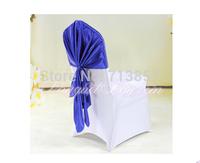 Royal Blue Color Satin Chair Sash For Wedding Spandex Chair Cover