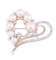 Elegant Heart pearl high-grade lovely  crystal brooch fashion jewelry