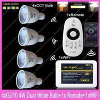 4x GU10 Mi.Light 4W Color Temperature Adjustable Dual White CW/WW CCT LED Bulb AC85-265V+1x 2.4G Wireless Remote+1x WiFi Hub