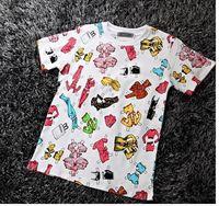 Free Shipping 2015 summer new fashion women's cute scrawl barbie doll print print short sleeve cotton o-neck t-shirt blouse