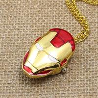 Golden Color Pocket Watch Iron Man Necklace Pendant Watch P499