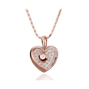 Hot selling 18k platinum fashion sparkling elegant double heart women pendant necklace honey