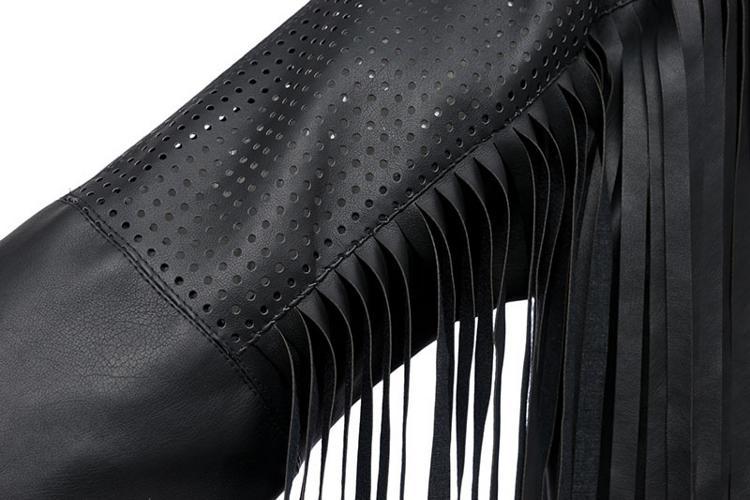 2015 европейских и америка стиль 3/4 длинным рукавом черный женщины длинные средней длины кожаное пальто с кисточкой холодный мотоцикл искусственная кожа куртка