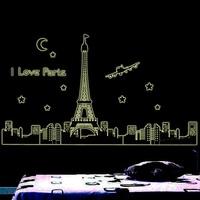 Hot Sale Fashion Luminous stickers Fluorescent Paris Pattern PVC Fluorescent  wall stickers home decoration Free Shipping