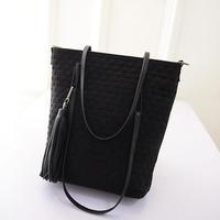 Leisure Woven Style 2015 Women  Handbag Leather Women Tote Bags Shopping Crossbody Bags Women Taseel Shoulder bags  -015