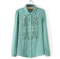 2015 turn-down collar front hollow out women chiffon blouses lantern sleeve classical women shirts J1076