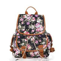 Fashion Design Floral Printing Canvas Backpack Preppy Girls School Bag Women Travel Bag Feminina Mochila 6Colors Recommened 133x