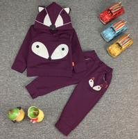 new 2015 cartoon fox boys girls sport clothing sets 2pcs kids apparel boys clothes sets with hood baby clothing set