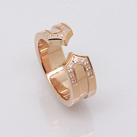 Wholesale trade section C double ring fashion lovers titanium steel rose gold ring on the ring of artificial