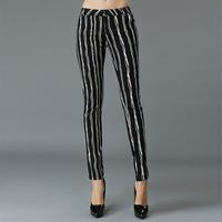 XL-5XL Brand 2015 Spring Summer Ladies Stripe Print 95% Cotton Casual Pencil Pants Long Trousers Plus Size Women Clothing XXXXXL