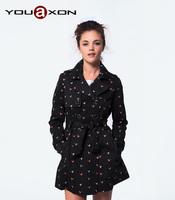 1381 YouAxon Ladies Autumn Winter Fashion Black Long Sleeve Printed Outwear Casco Overcoat Trench Feminino for Women a+ Coat