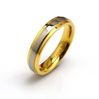 Hot Sale 4MM Pure Titanium Wedding Rings With 18K Gold Plated For Women Jewelry  Comfort Fit Wedding Band  Ti041R