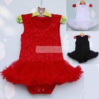 Kid Girls Rose Flower Lace Tutu Rompers Dress Vest Ballet Ruffle Dress S M L Free Shipping
