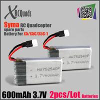 2pcs Original Syma X5C Spare Batteries Professional 3.7V 20C 500mAh RC Quadcopter Airplane Spare Part Accessories Li-Po Battery