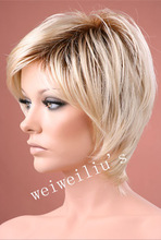 short Ombre hair Wig Latest styles blonde with dark roots Synthetic wigs 2015 newest fashion free shipping(China (Mainland))