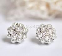 Imitation Pearl Ball18K Yellow White Platinum Gold Plated Stud Earrings Genuine Austrian Crystal Wholesale