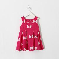 New 2015 summer girls foreign trade cotton print bow dress baby girls casual dress 5pcs/lot