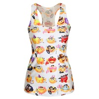 New Fashion Summer Emoji Tank Top Fashion T-shirt  Cute 3D Emoji Printed Top Vest Cheap Clothes