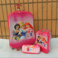 Girls Princess Snow White Travel Luggage 3Pcs Suit//Kids Cinderella School Bag Trolley Bags/3D Travel Luggage+Pencil Case Set