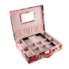 Jewelry Box Watercolor Printing Jewelry Display Travel Jewelry Case Storage With Lock2015 New Arrival Gift Box