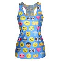 New Women Fashion Summer Vest Emoji Tank Top Blue 3D Emoji Printed Girls Camisole