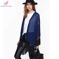 Blusas Femininos Thin Chiffon Coats Women Irregular Hem Loose Open Stitch Outwear   Casual Novelty Ladies Women's Clothing