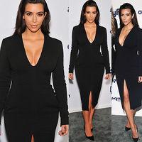 Fashion elegant Women dress Celeb Sexy Slim Deep V-neckline long-sleeve Bodycon dress party dresses Clubwear