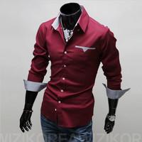 2015 Spring Free shipping + wholesale and retail long-sleeved shirt New Men's casual shirts Men's Slim Shirt