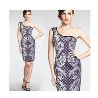 Sexy Women fashion summer dress Slim Fit Sleeveless knee-length Dresses One Shoulder Half Lead Pencil dress party dress