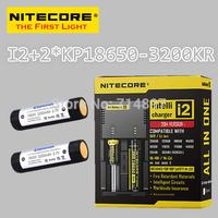 Free shipping original NITECORE I2 intelligent  battery charger + 2 pcs keeppower KP 18650 3200mah kr rechargeable batteries