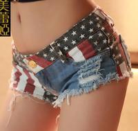 2015 NEW Summer women's Tides Denim Shorts national flag pattern Nightclub Sexy Jeans short Pants