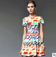 2015 spring and summer new European and American big Slim thin short-sleeved dress color collar waist dress