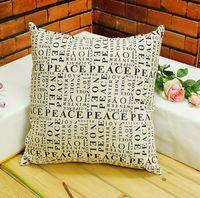 printed letters plain linen cushion cover shabby chic home decor vintage living room decorative pillowcase