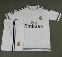 High  Quality !   Real Madrid  Home   jerseys   2015  - 2016  Ronaldo  JAMES Soccer  Uniforms  Kits   Free Shipping