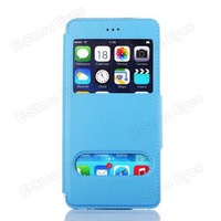 Free shipping 1pc/tvc-mall Folio Leather Stand Case Double View Window for iPhone 6